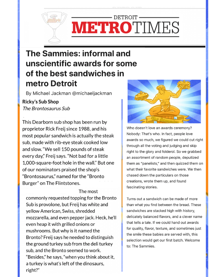 The Sammies informal and unscientific awards for some of the best sandwiches in metro Detroit